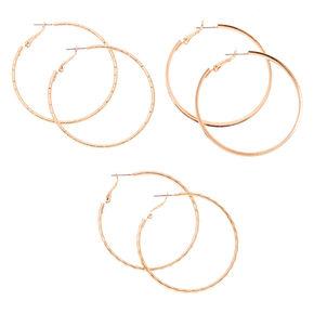 Rose Gold 50MM Hoop Earrings - 3 Pack,