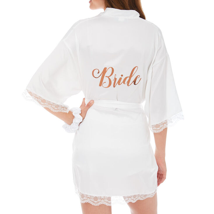 White & Rose Gold Foil Satin Bride Robe - S/M,