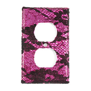 Fuchsia Glitter & Black Floral Lace Outlet Cover,