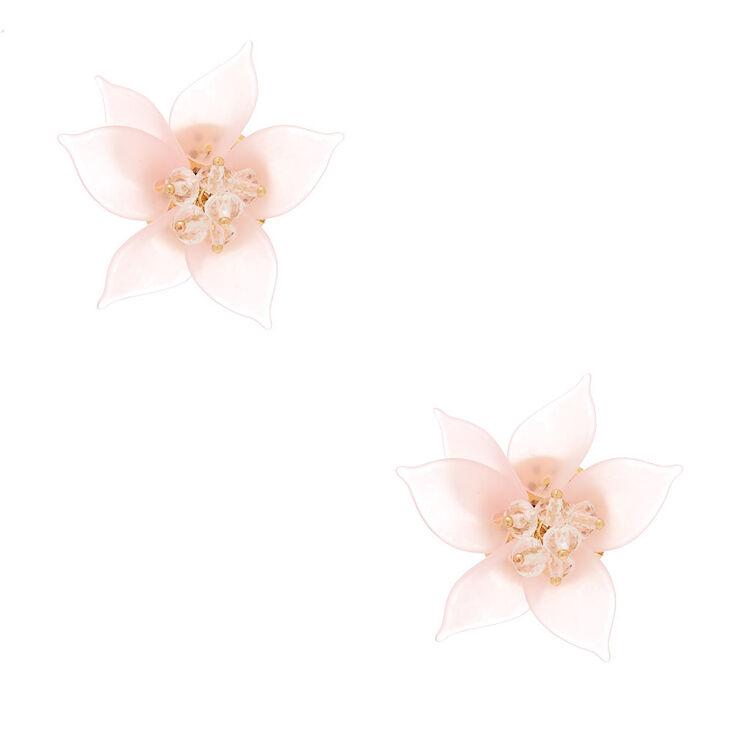 Gold Flower Petal Bead Stud Earrings - Pink,
