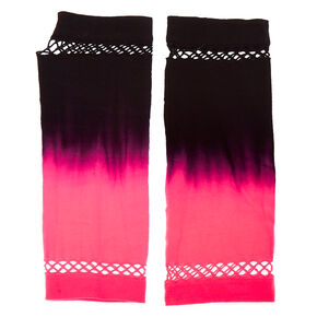 Ombre Fishnet Arm Warmers - Pink,