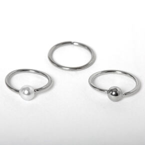 Silver 20G Beaded Nose Rings - 3 Pack,