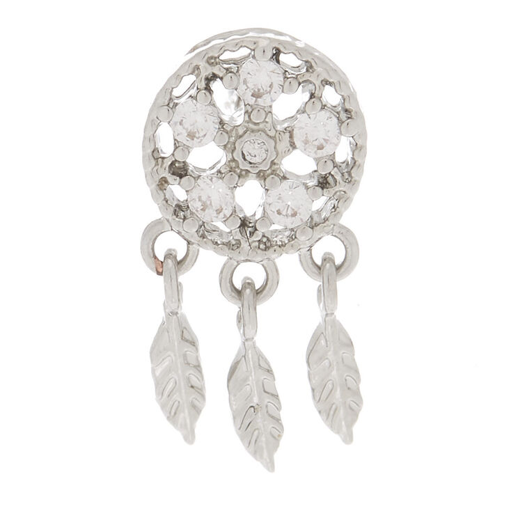 Silver 14G Crystal Dreamcatcher Cartilage Earring,