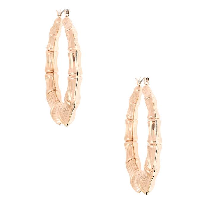 Rose Gold 60MM Bamboo Textured Hoop Earrings,