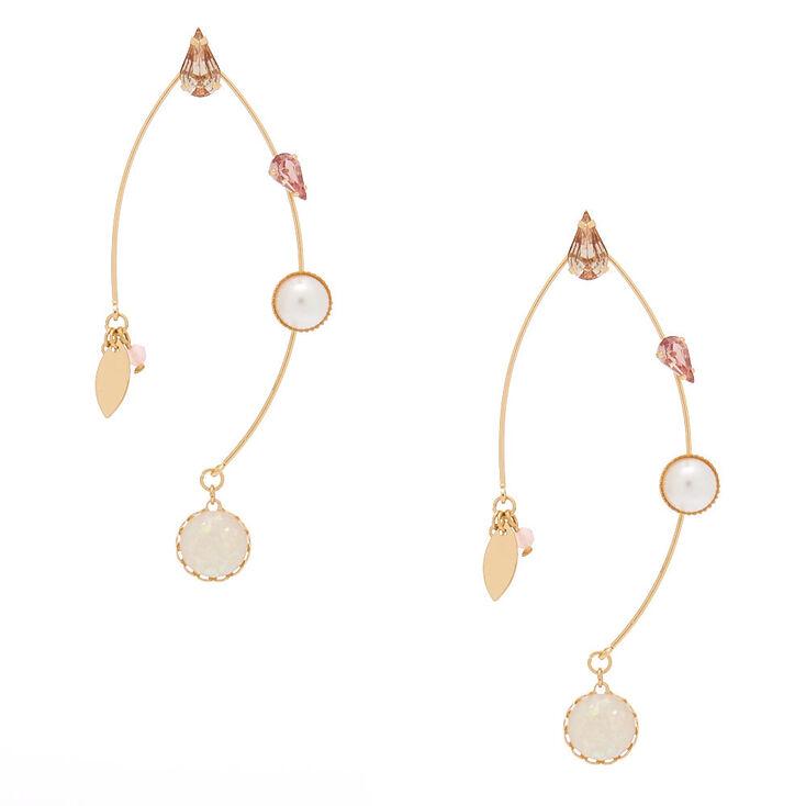 """Gold 2.5"""" Opal Stone Drop Earrings - Pink,"""