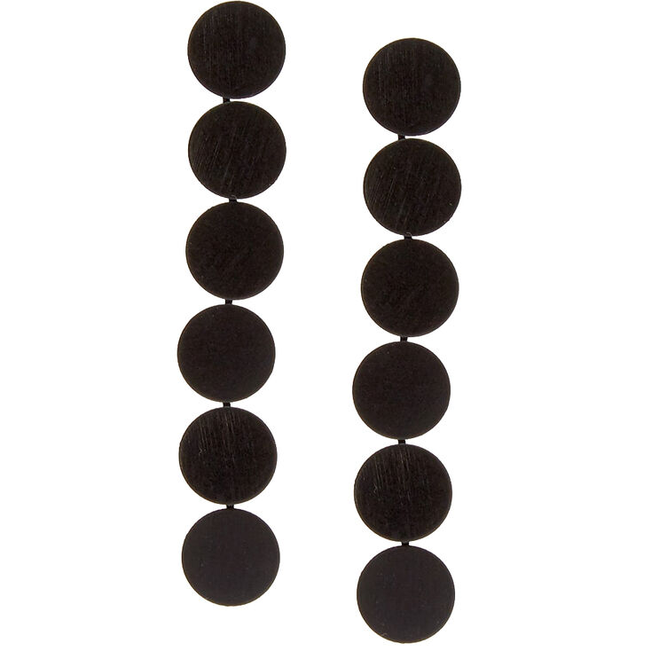 Matte Black Circle Plate Earrings,