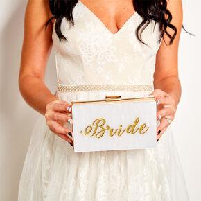 Bride Acrylic Clutch Purse - White,