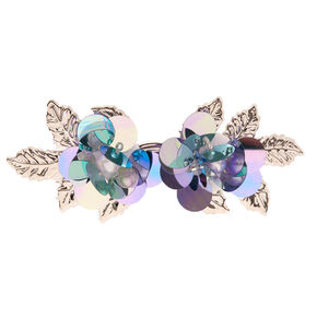 Silver Sequin Flower Hair Barrette - Blue,