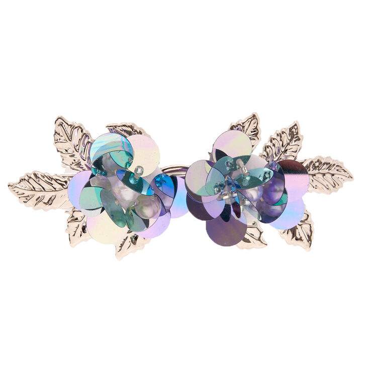 Silver Sequin Flower Hair Barrette - Blue,