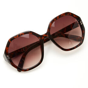 Oversized Octagon Tortoiseshell Sunglasses - Brown,