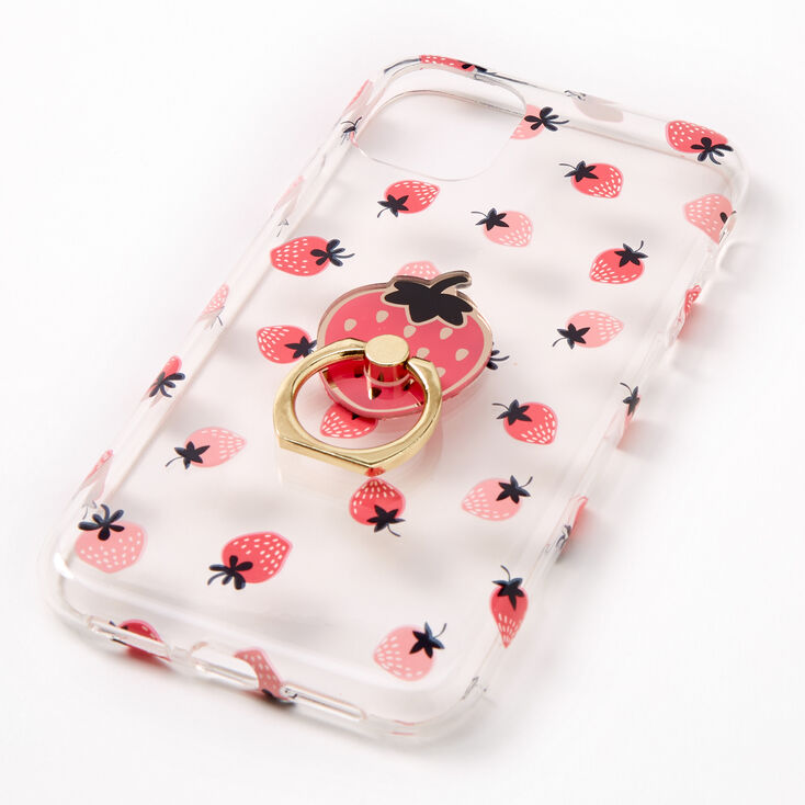 Strawberry Ring Holder Protective Phone Case - Fits iPhone® 11,