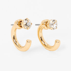Gold 15MM Front and Back Crystal Tube Hoop Earrings,