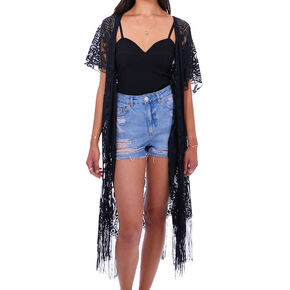 Lace Fringe Kimono - Black,