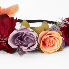 Vibrant Fall Flower Crown Headwrap,