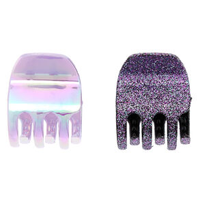 Holographic Glitter Mini Hair Claws - Purple, 2 Pack,