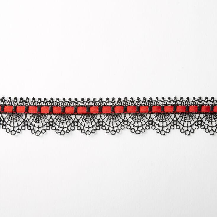 Black & Red Lace Ribbon Choker Necklace,