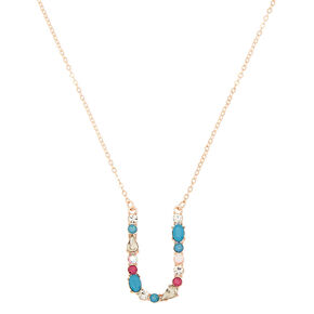Embellished Long Initial Pendant Necklace - U,