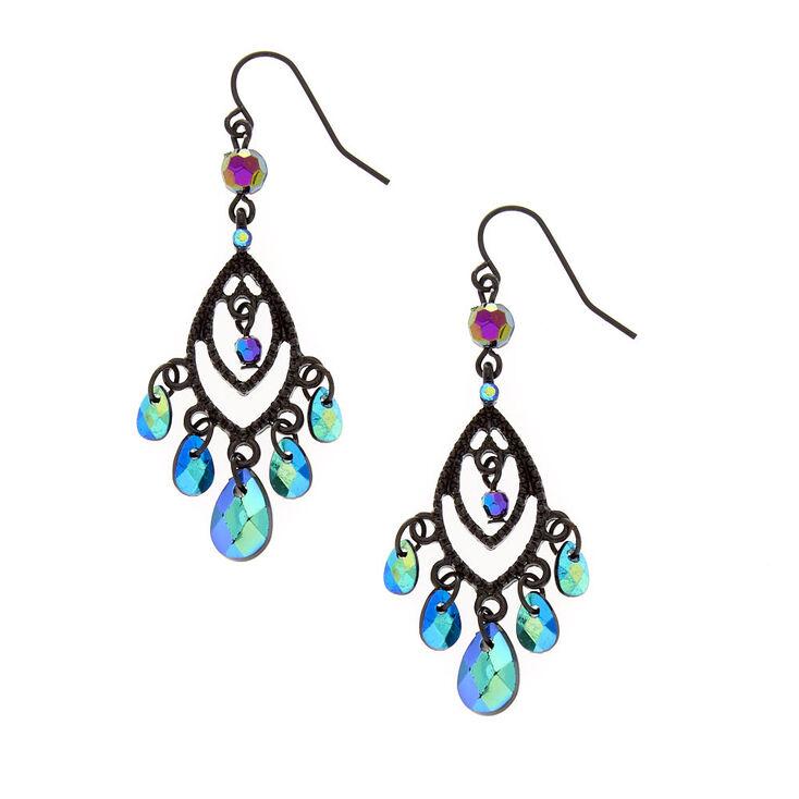 Open Black Marquis & Mirrored Bead Fringe Drop Earring,