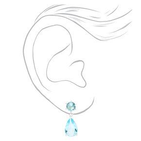 """Silver 1"""" Cubic Zirconia Teardrop Drop Earrings - Blue,"""
