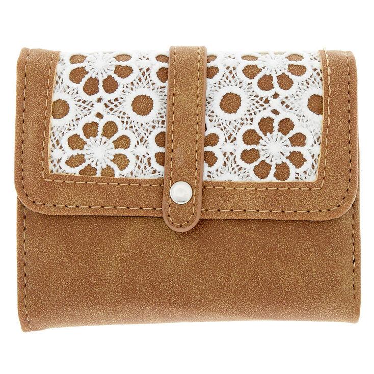 Trifold Crochet Wallet - Brown,