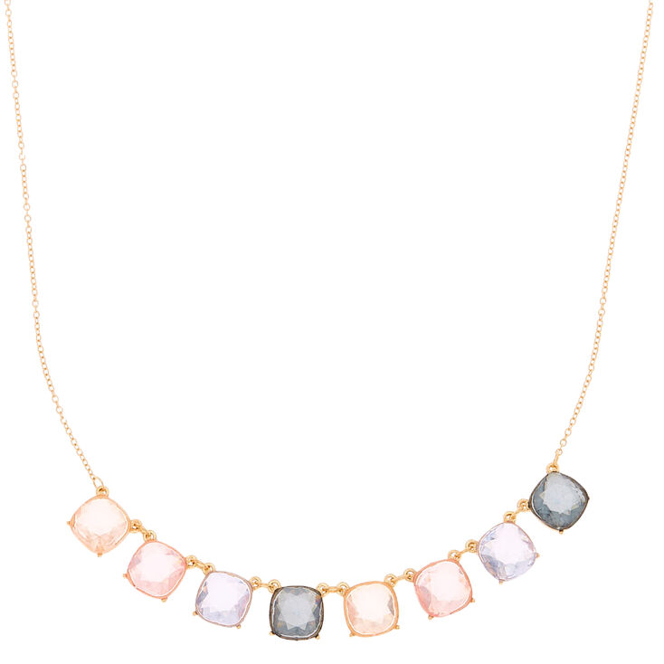 Gold Pastel Shine Statement Necklace,