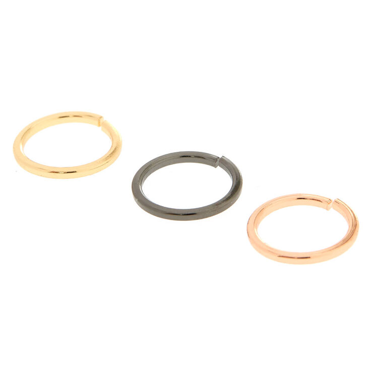 Sleek Mixed Metal Nose Rings - 3 Pack,