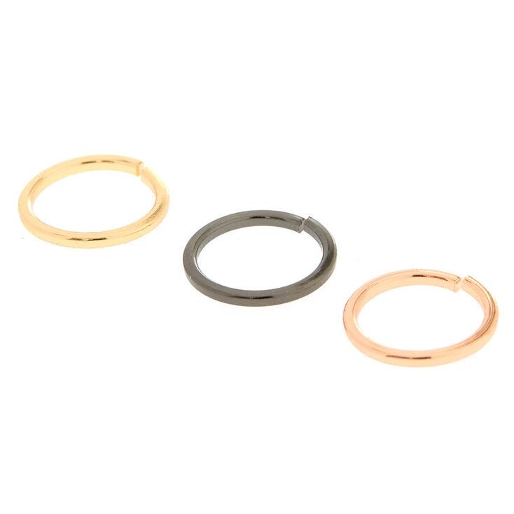 Sleek Mixed Metal Nose Rings - 3 Pack,