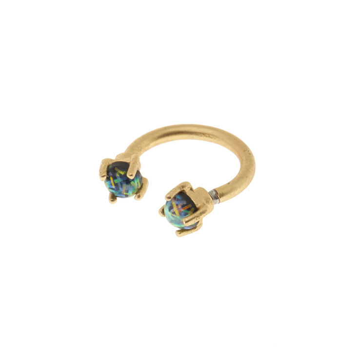 16G Green Opal Rook Earring,