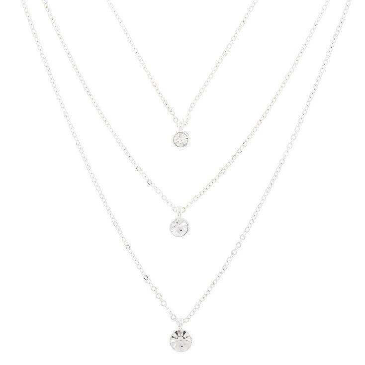 Silver Graduated Rhinestone Multi Strand Necklace,