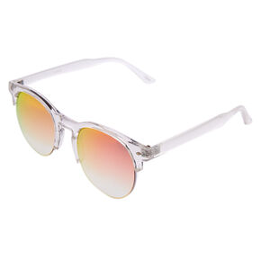 Clear Mod-Style Mirrored Sunglasses,