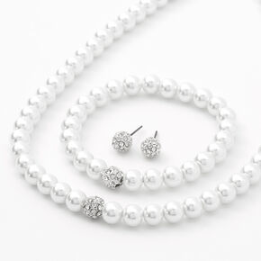 Pearl and Rhinestone Jewelry Set - 3 Pack,