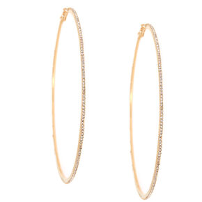 Gold Glass Rhinestone 100MM Hoop Earrings,