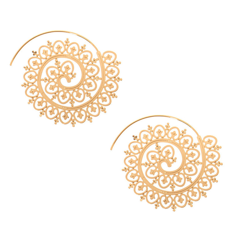 Filigree Gold-Tone Statement Earrings,