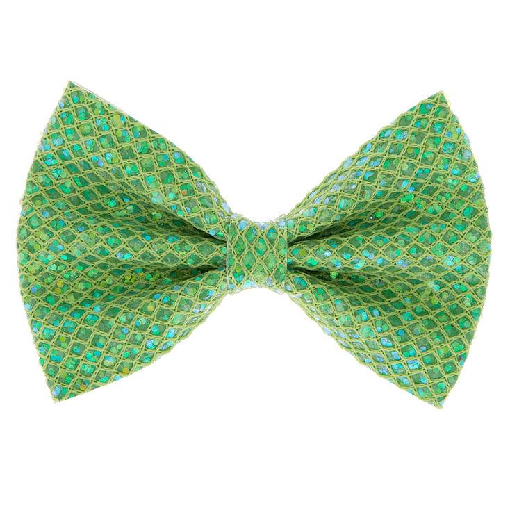 Mermaid Shine Hair Bow Clip - Lime Green,