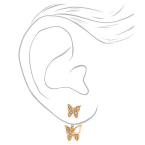 Gold Butterfly Embellished Ear Crawler Stud Earrings,