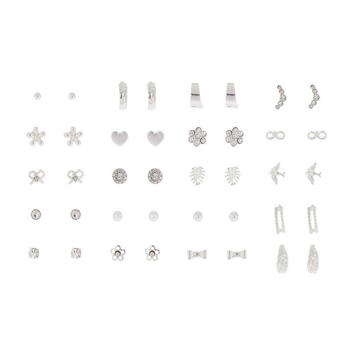 Silver Stud Earring Set - 20 Pack,