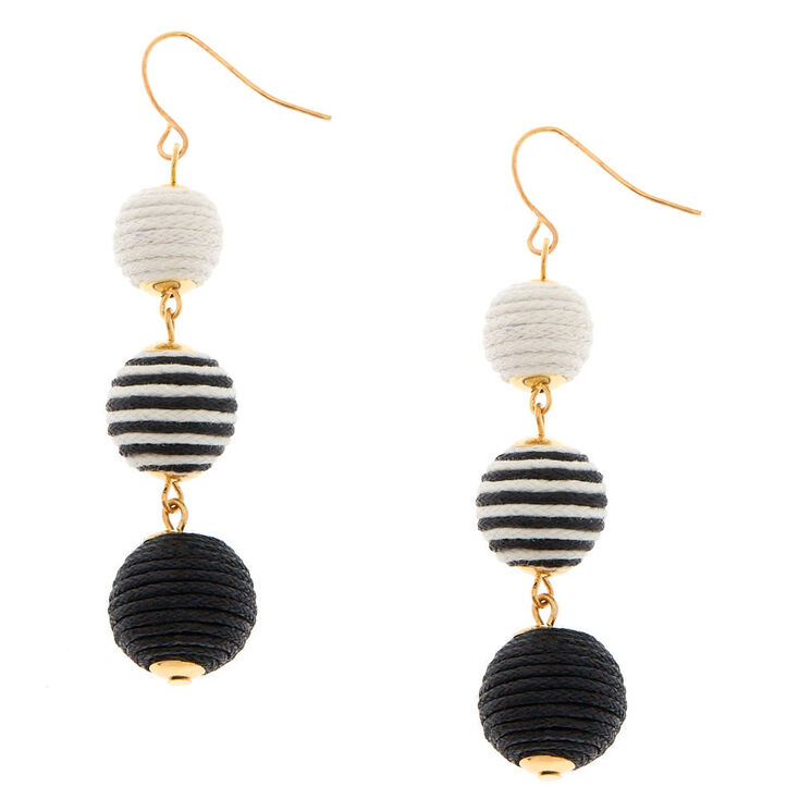 Black and White Ball Drop Earrings