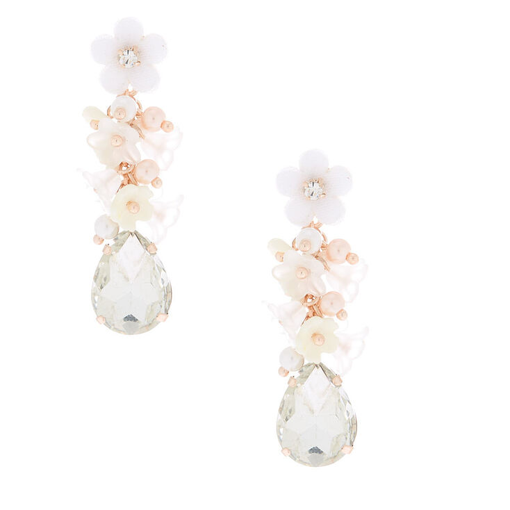 "2"" Rhinestone Floral Cluster Drop Earrings,"
