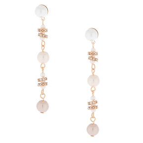 "Rose Gold Pearl 2.5"" Ombre Drop Earrings,"