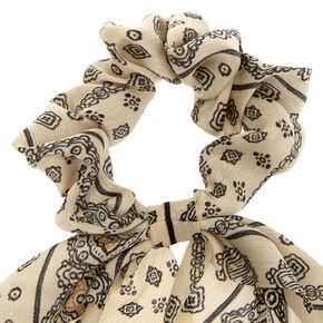 Black & White Paisley Scarf Hair Scrunchie,