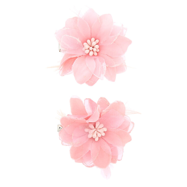 Pink Lily & Feathers Hair Clips,