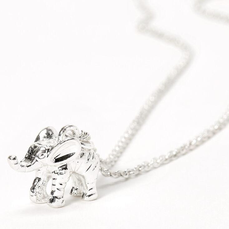 Silver 3D Elephant Pendant Necklace,