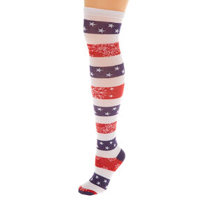 American Flag Striped Over the Knee Socks,