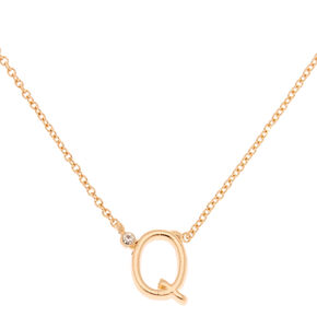 Gold Stone Initial Pendant Necklace - Q,