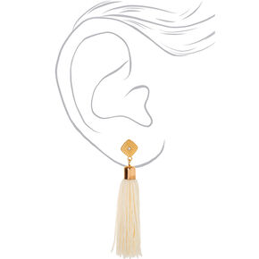 "Gold 3"" Tassel Drop Earrings - White,"