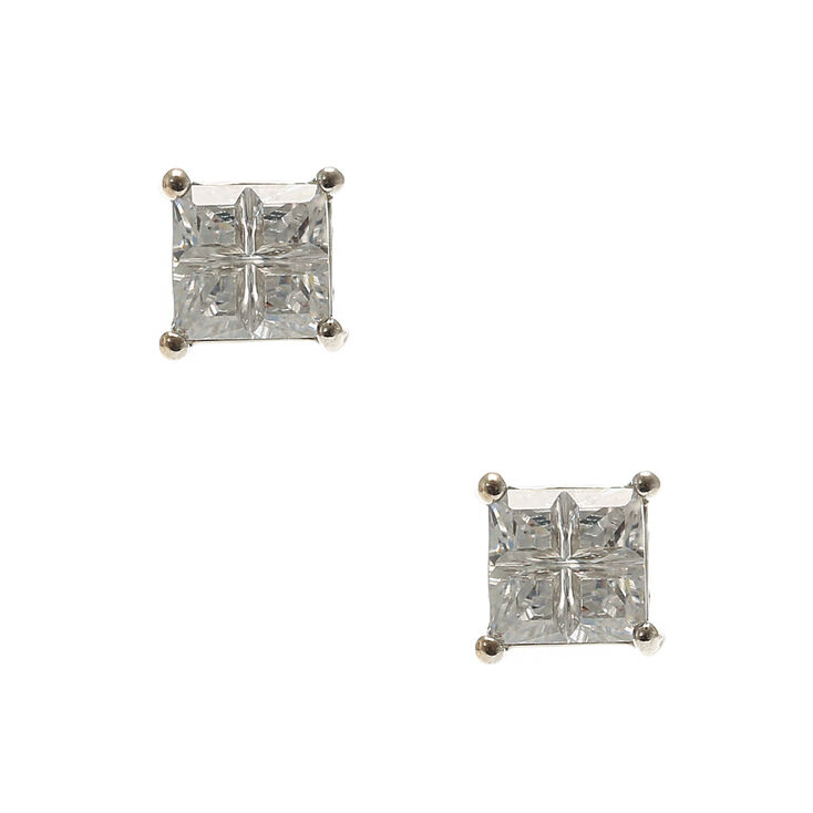 Silver 6MM Cubic Zirconia Embellished Setting Square Stud Earrings,