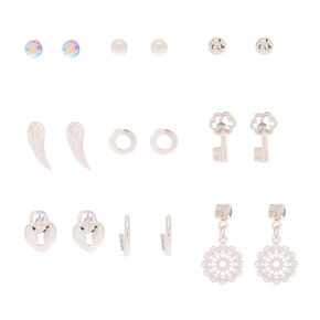 Silver Heart, Key, Feather Wing, & Stone Stud Earrings - 9 Pack,