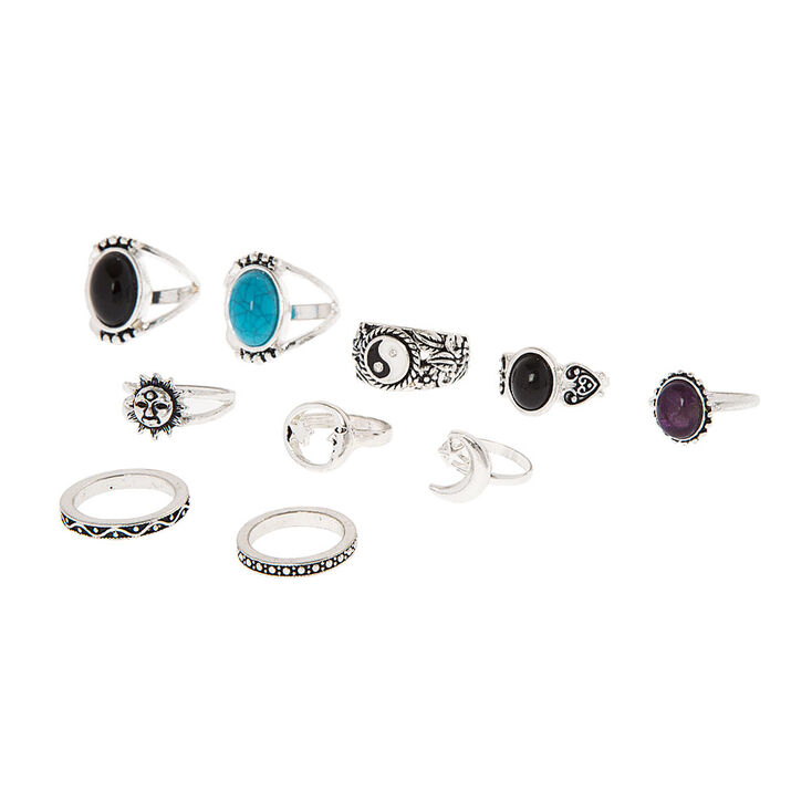 Silver, Black & Turquoise Rings Set of 10,