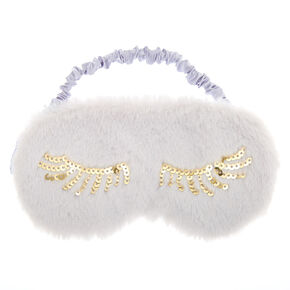 Plush Sequin Eyelash Sleeping Mask - Gray,