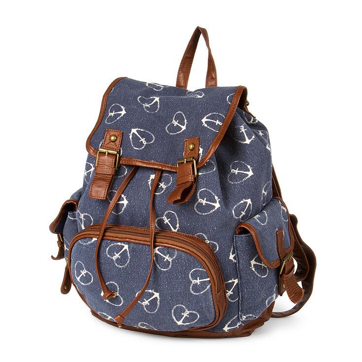 Burlington Navy Canvas Heart Anchor Print Medium Backpack,
